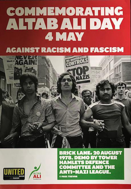 Pamphlet which reads Commemorating Altab Ali Day 4th May. Against racism and fascism