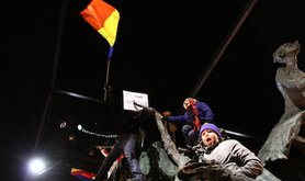 During the 2012 protests in Bucharest. Demotix/Reporter#8077. All rights reserved.