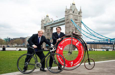 Boris Johnson and Roger Gifford launch Lord Mayor's Summer Cycle Challenge, 2013.