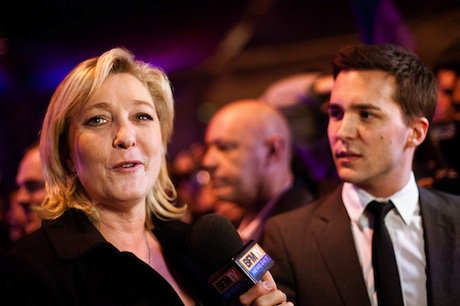 Marine Le Pen speaks to the media after a campaign rally in 2012. Demotix/Xavier Malafosse. All rights reserved.