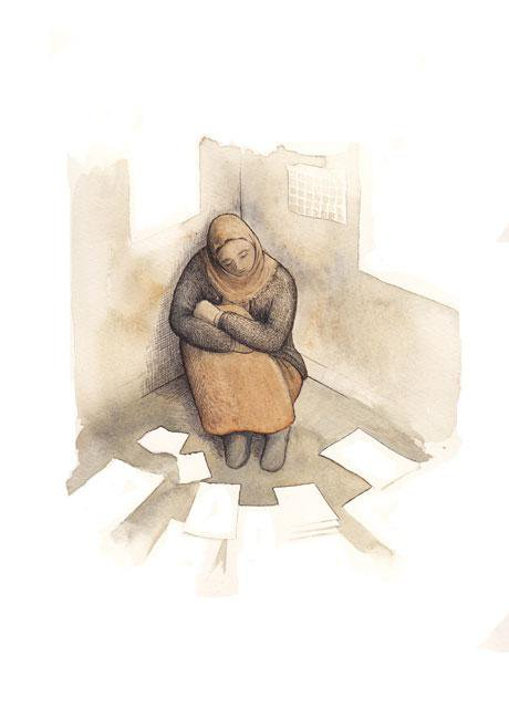 Illustration of a woman sitting on the floor surrounded by paper.