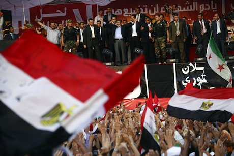 Newly elected Egyptian president Morsi in Tahrir Square. Demotix/Mahmoud Khaled. All rights reserved.