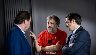 Oliver Stone, Slavoj Žižek and Alexis Tsipras at the 2013 Subversive Festival in Zagreb. Robert Crc. All rights reserved.