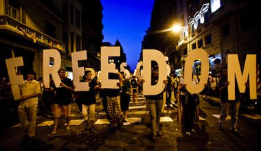 Pro-independence protesters in Barcelona. Demotix/Mario Roldan. All rights reserved.