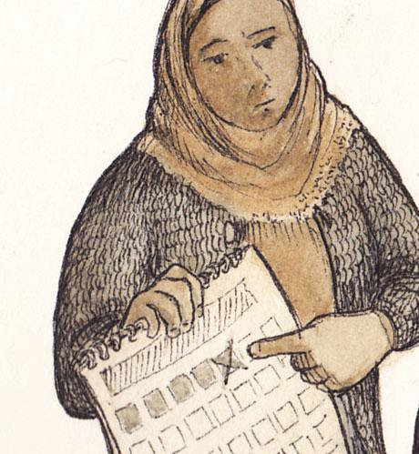 Illustration. Women wearing headscarf holding calendar. Close up of her face.
