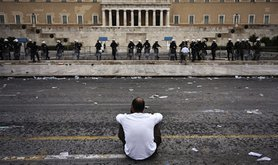 """""""Where do we go from here?"""" - after a protest in Athens, Greece. Demotix/Socrates Baltagiannis. All rights reserved."""