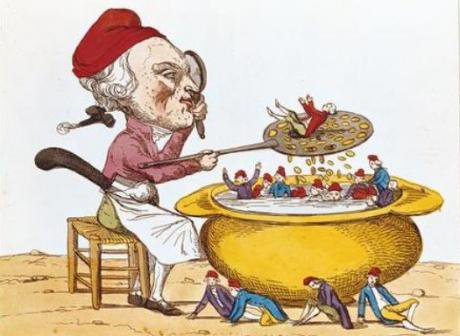 The Purifying Pot of the Jacobins (1793), alluding to the Law of Suspects enacted under Robespierre's Committee of Public Safety