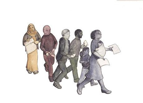 Illustration of group of men, women and children holding papers.