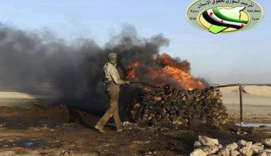 Primitive oil refining in Deir Ezzour, Syria. Photo courtesy of the Syrian Observatory for Human Rights