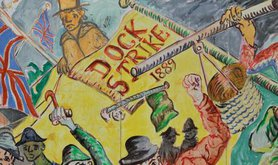 A painting showing the London dock strike of 1889.