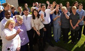 Labour leadership candidates Liz Kendall and Andy Burnham with former leader Ed Miliband, April 2015.