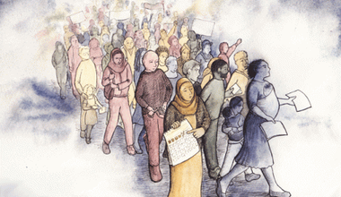 lead lead lead lead lead lead Illustration showing a crowd of men, women and children. Some have placards and pieces of paper.