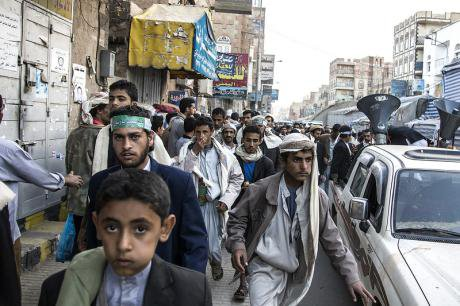 Houthis march in celebration of the Prophet's birthday, Sana'a, 2013.