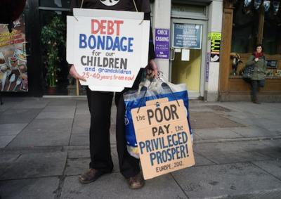 Union members protest over bank debt in Dublin