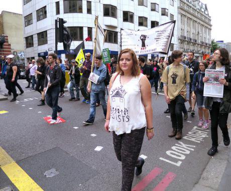 Anti-austerity protest in London, June 2015 amid the evictions of most residents from a Barnet housing estate.