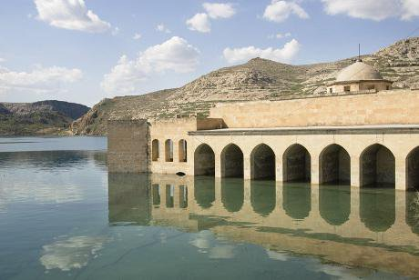 A mosque flooded on the Euphrates river.