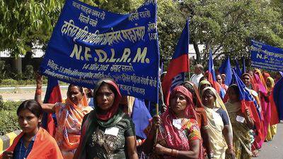 Dalit activists at the Indian parliament, 2013. Demotix/Rajeev Singh. All rights reserved.