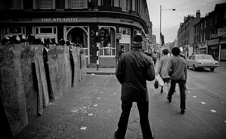Riot police lined up at the 1981 Brixton riot.
