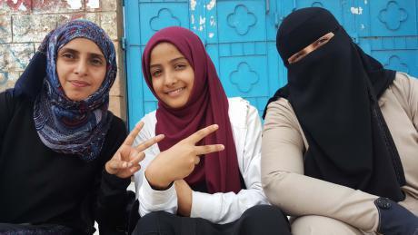 Human rights activist Reham Al-Bader (left).
