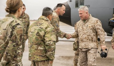 Kenneth F. McKenzie Jr., the commander of U.S. Central Command, right, visits Airmen assigned to the 332 Air Expeditionary Wing, Jan. 24, 2020