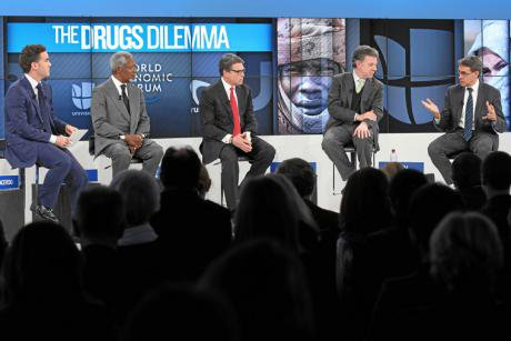 Political leaders and analysts discuss drug policy at Davos.