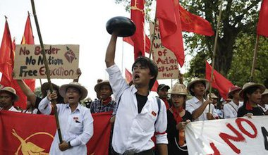 Students demand change in Myanmar. Creative Commons. Some rights reserved.
