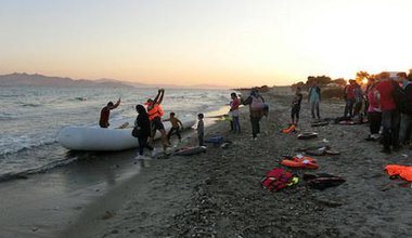 A boat of fifty migrants and refugees arrives from Bodrum, Turkey onto the island of Kos, Greece in September, 2015.