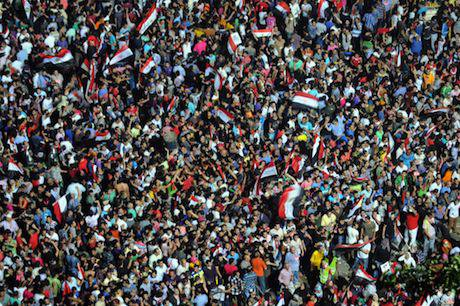 Egyptians celebrating the announcement of Morsi's ouster