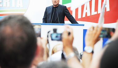 Berlusconi addresses his supporters in August. Demotix/Marco Zeppetella. All rights reserved.