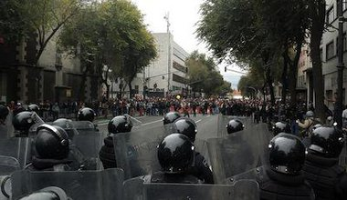 Riot police in Mexico