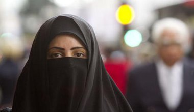 A Muslim woman wearing the niqab in central London