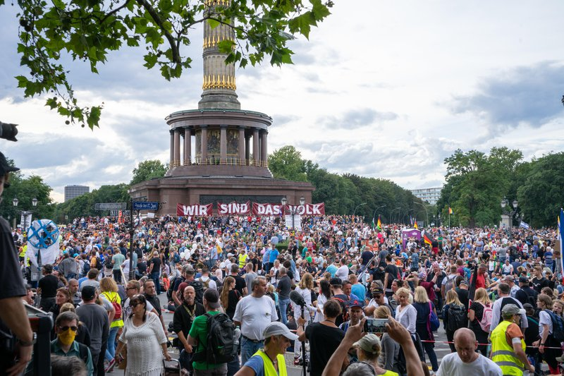 A large protest in Berlin, 29 August 2020