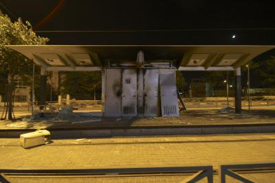 As-Sahel light rail station shelter, southern entrance to Shuafat, burned during clashes, 2/7/14. Photo courtesy of the author.
