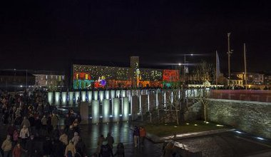 A projection entitled 'Twice upon a time' by Ucobo in Derry as part of UK City of Culture celebration