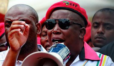 Economic Freedom Fighters leader Julius Malema during a speech in Houghton