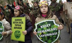 Northern Forest Defence activists with two young children at forefront in forest colours holding banners