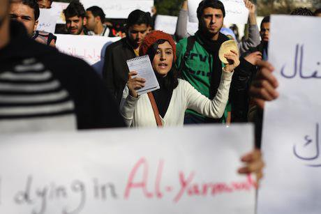 Palestinian protest in solidarity with Yarmouk refugee camp. Demotix/Mahmoud Essa. All rights reserved.
