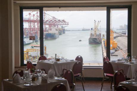 The exclusive view from the Harbour Room Restaurant in Colombo, Sri Lanka