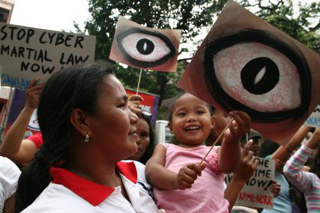 A protest against the controversial Cybercrime Prevention Act in Manila. Demotix/J Gerard Seguia. All rights reserved.