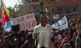 African asylum seekers protest in front of Ministry of Interiors