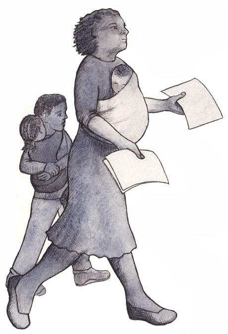 Illustration of mother with baby and two children. She is holding two sheets of paper in out stretched hands.