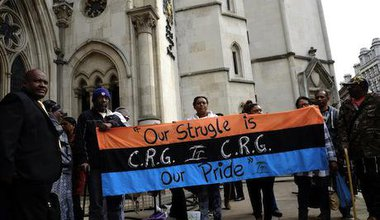 Chagos Islanders protest in London, March 2014. Rachel Megawhat/Demotix. All rights reserved.
