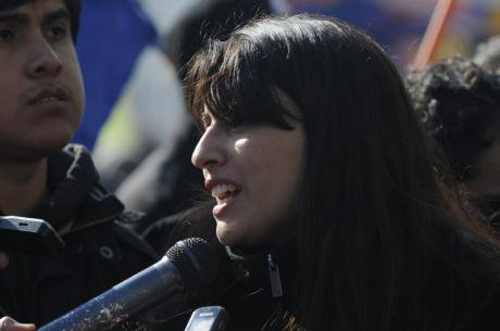 Melissa Sepulveda calling for a free and quality education system in Chile, June 2014.