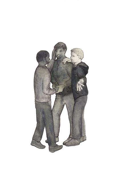 Illustration of three boys with their arms on each others shoulders, talking.