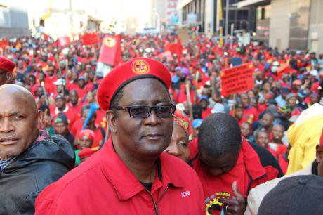 Thousands of metalworkers go on strike in Johannesburg, 2014.