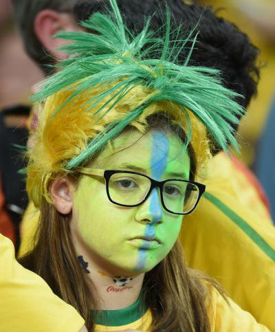 A disconsolate Brazil fan during the 2014 World Cup semifinal against Germany.