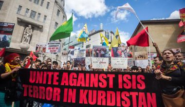 Protest against Islamic State massacres of Kurds and Yazidis in London.