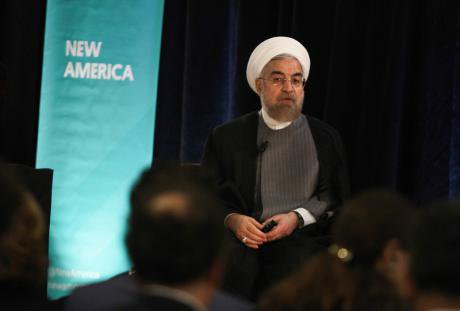Hassan Rouhani speaks in New York City about stabilising the Middle East, September, 2014.
