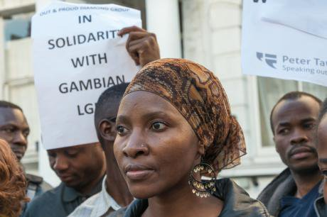 LGBT protesters at the Gambian embassy in London,