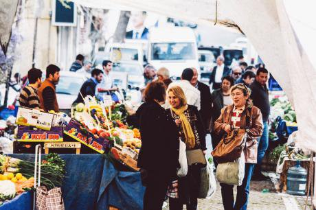 Local farmers market in Istanbul.